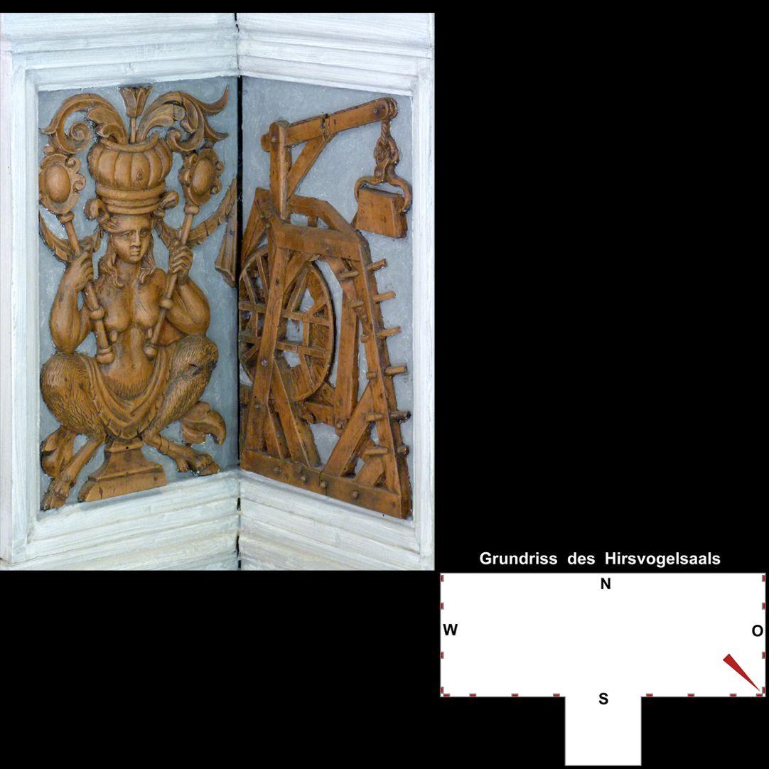 Pilasterabfolge im Hirsvogelsaal Eckpostamente, links Faunweib, rechts Baukran