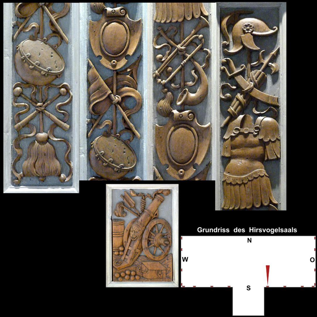 Pilasterabfolge im Hirsvogelsaal oben: Pilastersegmente mit Kriegstrophäen; unten: Postament mit Feldgeschütz