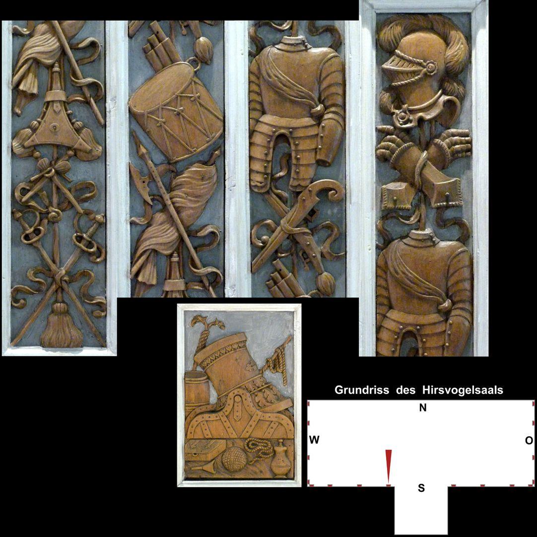 Pilasterabfolge im Hirsvogelsaal oben: Pilastersegmente mit Kriegsgerät und Harnisch; unten: Postament mit Mörser
