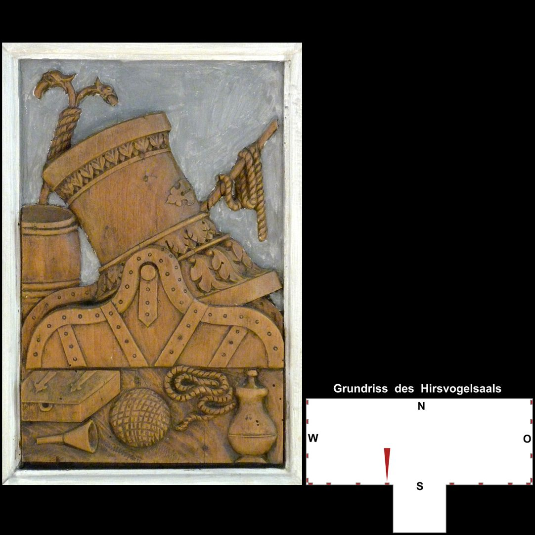 Pilasterabfolge im Hirsvogelsaal Postament mit Mörser