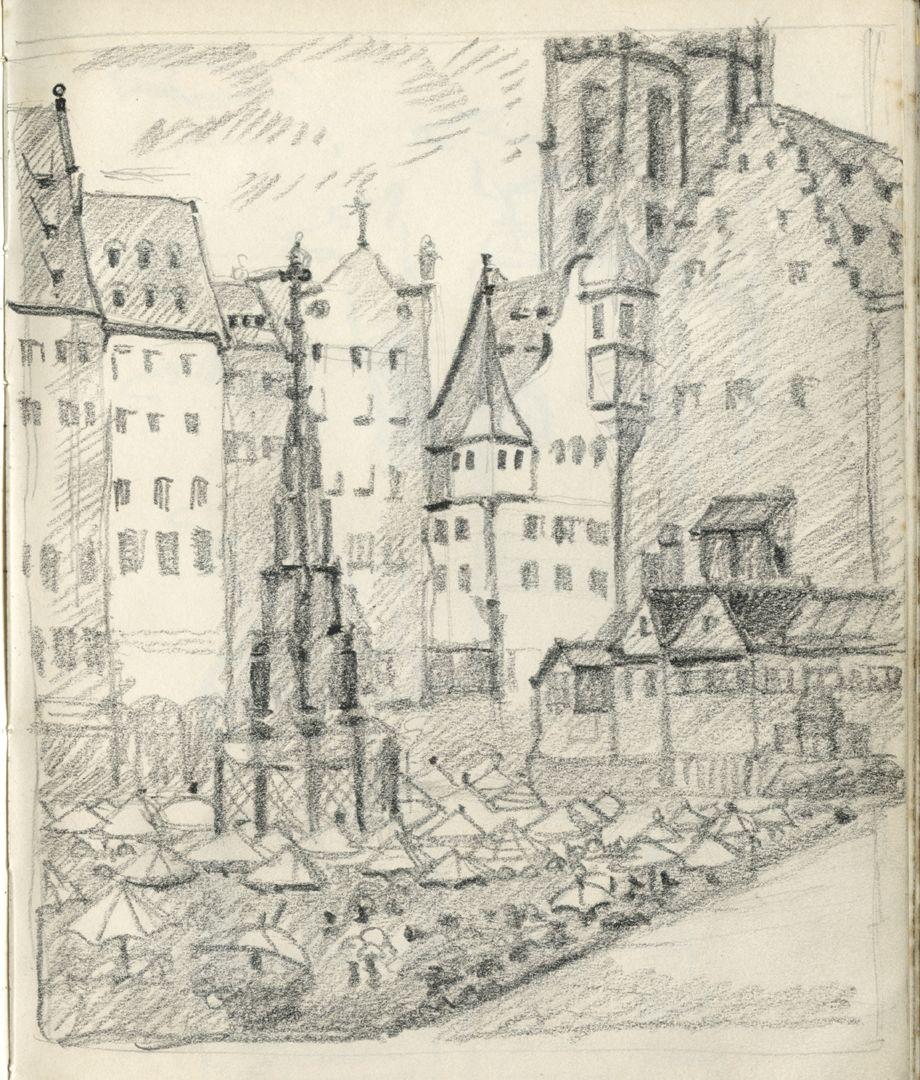 Skizzenbücher Hauptmarkt mit Schönem Brunnen