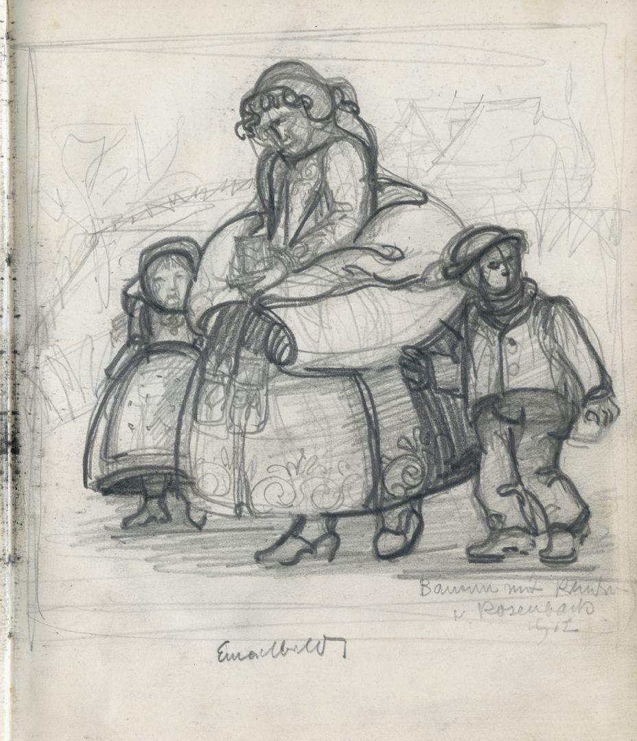 Skizzenbücher Eine Bäuerin mit Kindern auf dem Weg zur Kirche. Beschriftet: Bäuerin mit Kindern, Rosenbach 1912 / Emailbilder