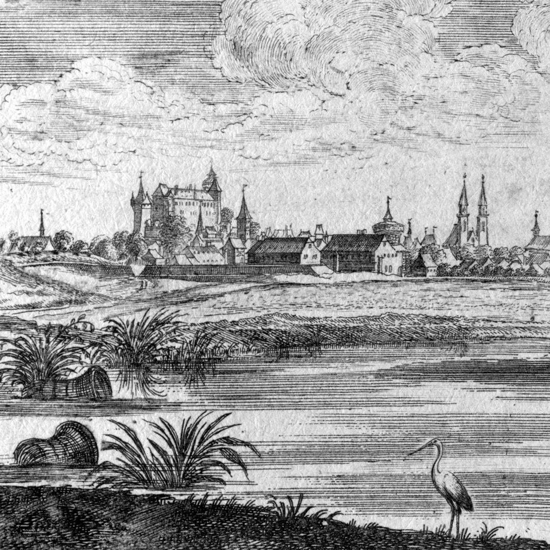 Poeten Wäldlein gegen Nürnberg Detail mit Blick auf Nürnberg