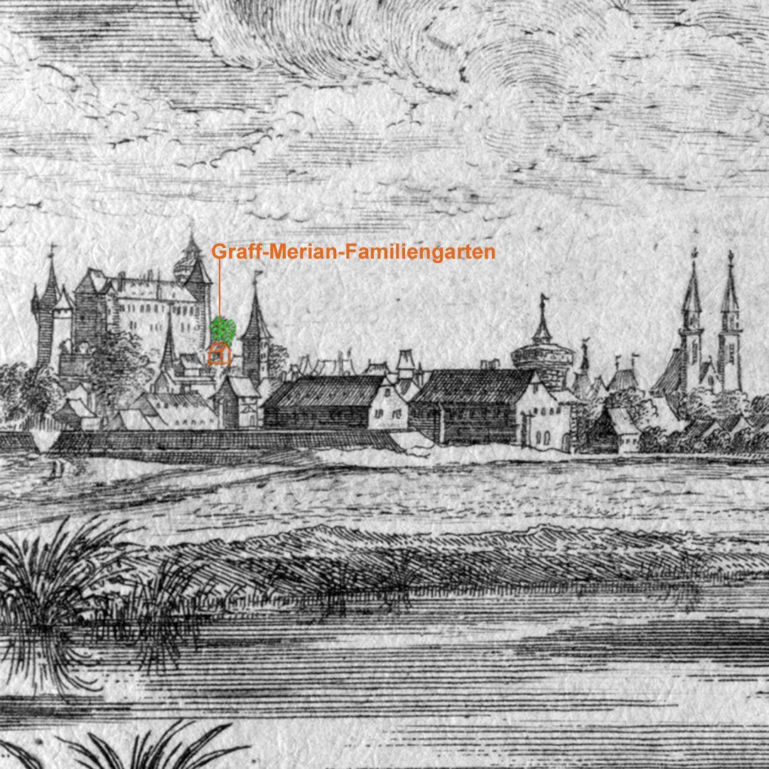 Poeten Wäldlein gegen Nürnberg Detail mit Blick auf die Nürnberger Burg, Markierung Bildausschnitt: Graff-Merian-Familiengarten neben der Kaiserkapelle