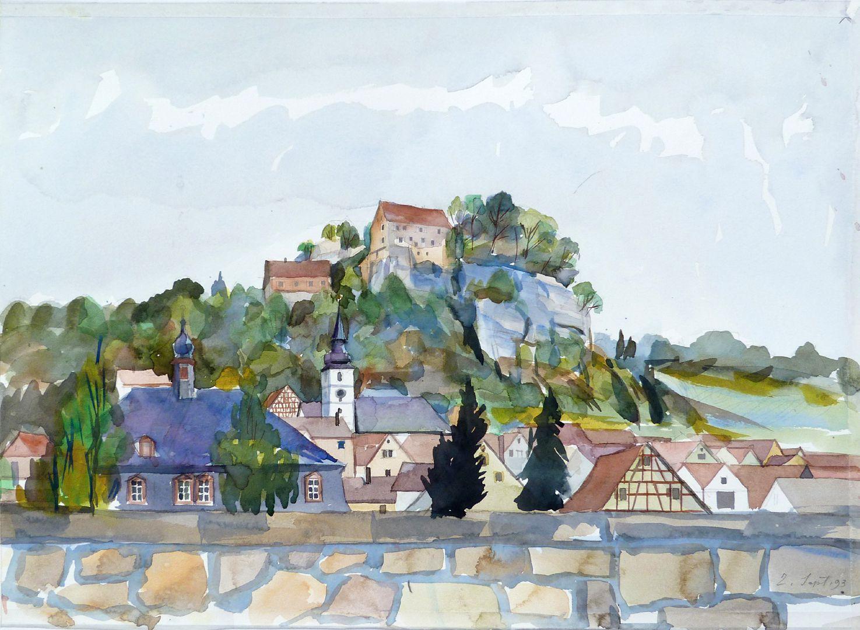 Pottenstein (Oberfranken) Stadtsilhouette mit Bürgerhaus, St. Bartholomäus und Burg