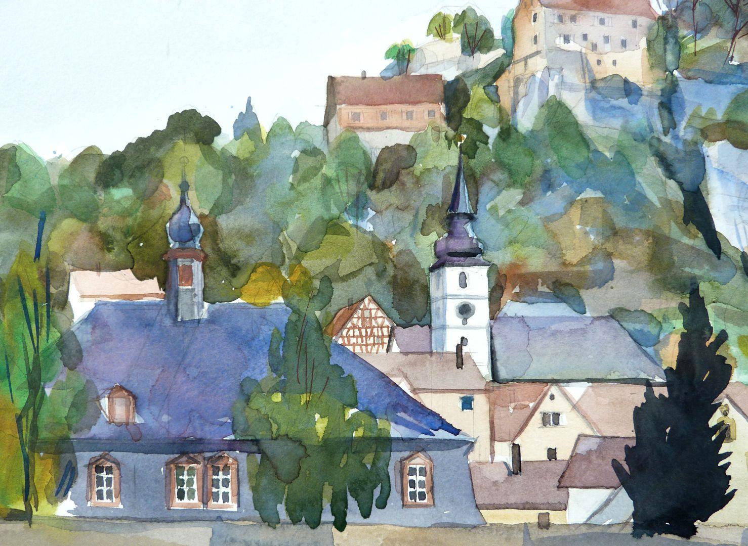 Pottenstein (Oberfranken) Stadtsilhouette mit Bürgerhaus, St. Bartholomäus und Burg, Detail