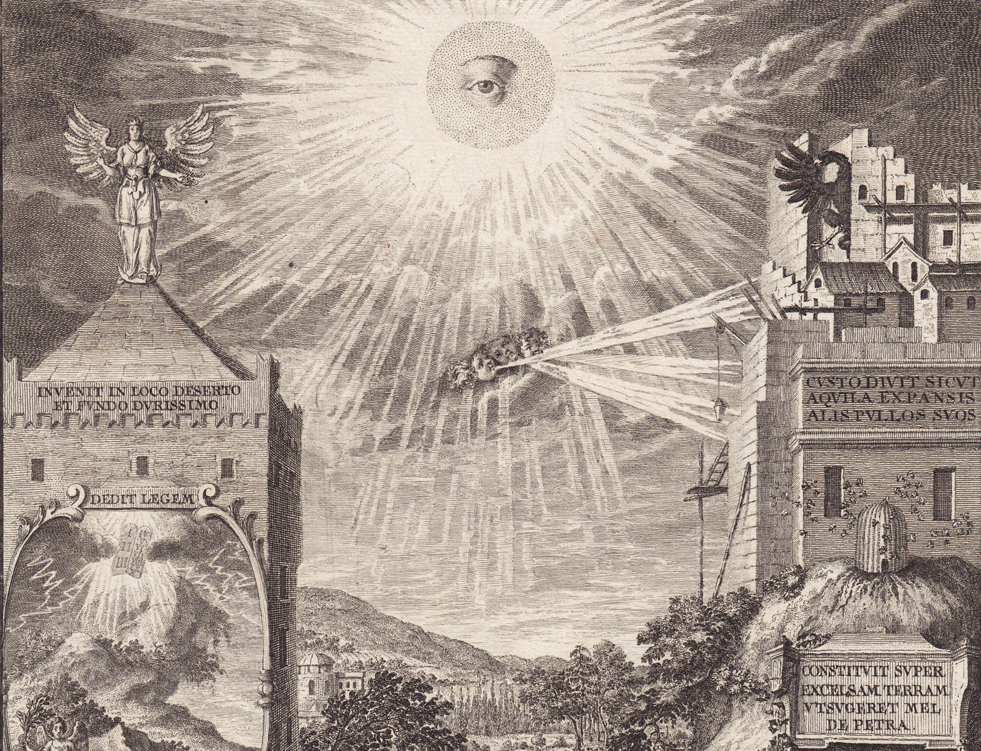 Emblematische Darstellung mit Nürnberger Ansicht obere Bildhälfte