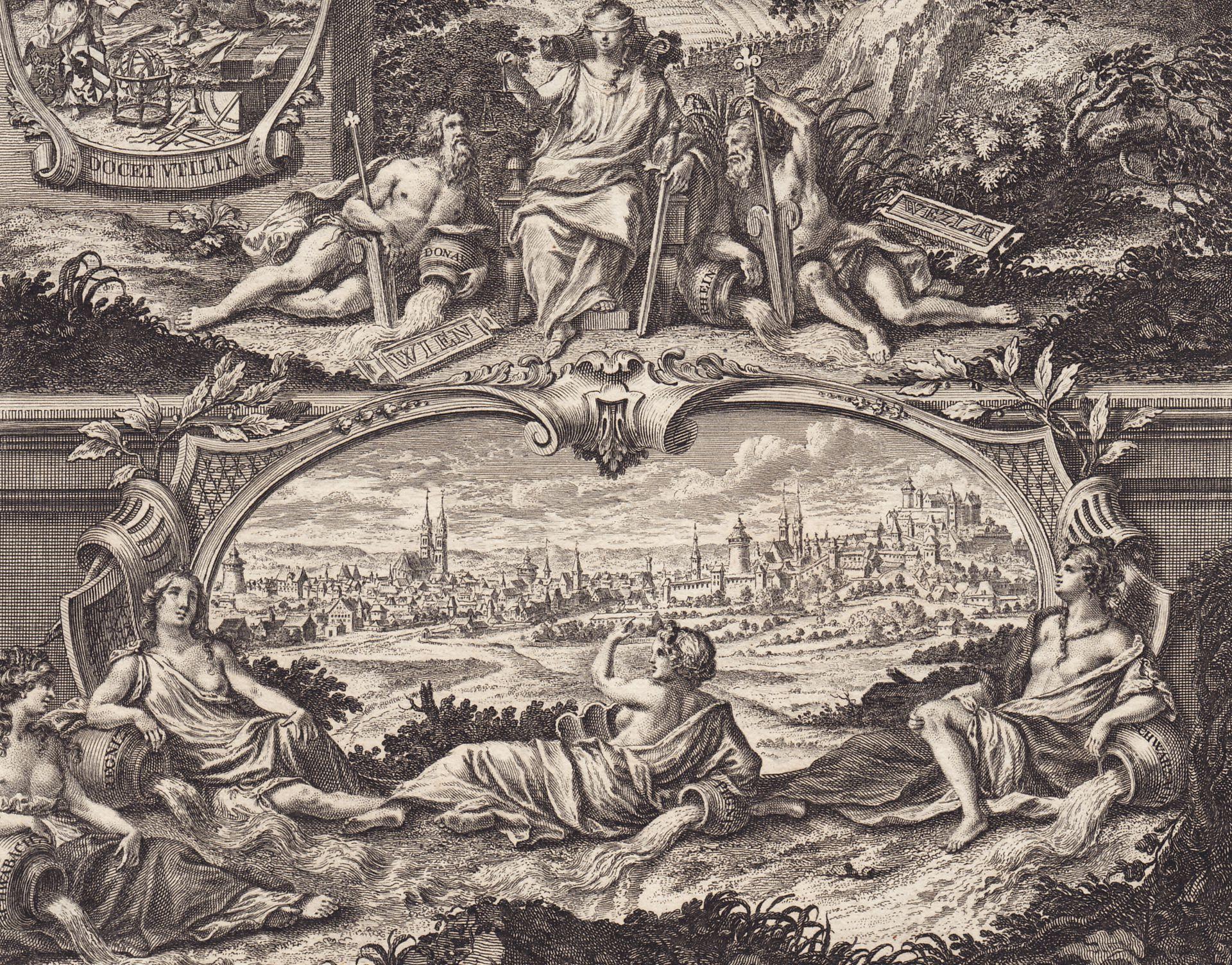 Emblematische Darstellung mit Nürnberger Ansicht untere Bildhälfte