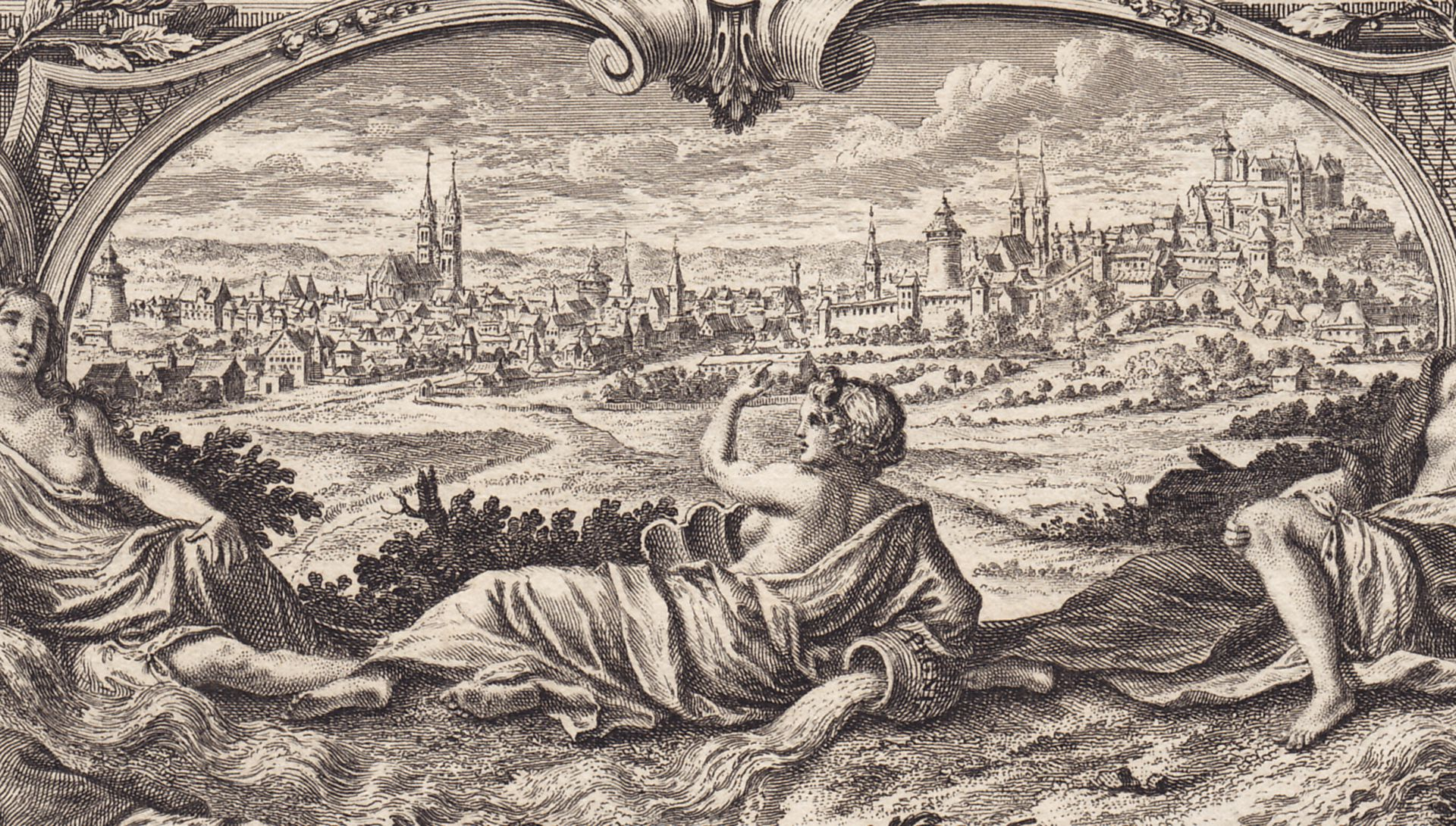 Emblematische Darstellung mit Nürnberger Ansicht Detail mit Nürnberger Stadtansicht