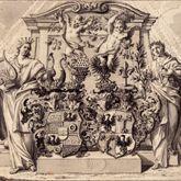 Allianzwappen Pfinzing - Nützel, vor einem allegorischen Monument