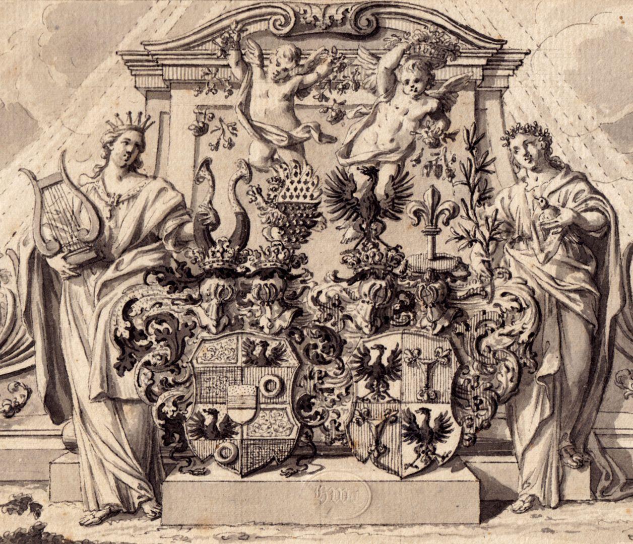 Allianzwappen Pfinzing - Nützel, vor einem allegorischen Monument Detail