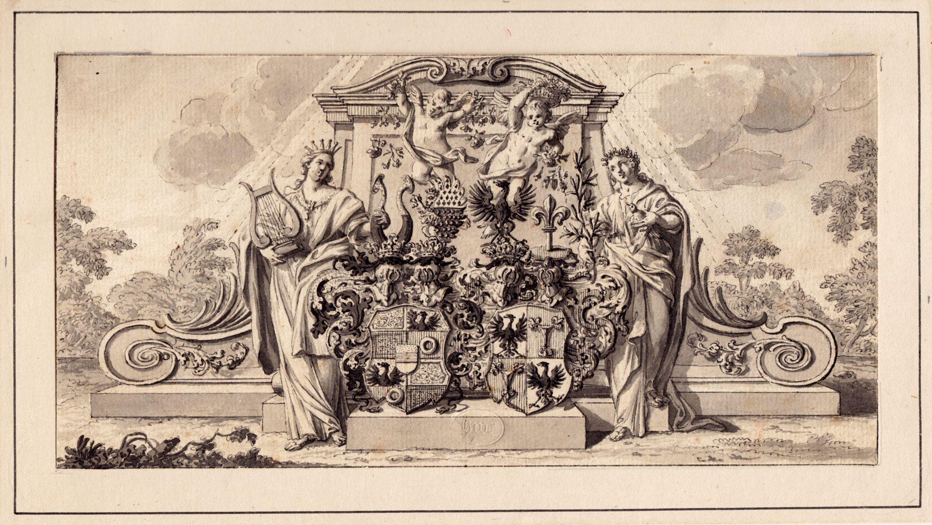 Allianzwappen Pfinzing - Nützel, vor einem allegorischen Monument Gesamtansicht