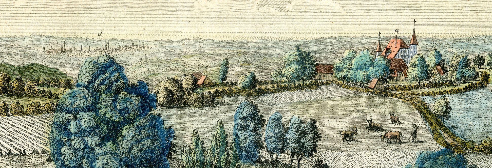 Prospect von Haymendorf d: Nürnberg   c:ein Theil der unteren Höfe   a: das Schloß