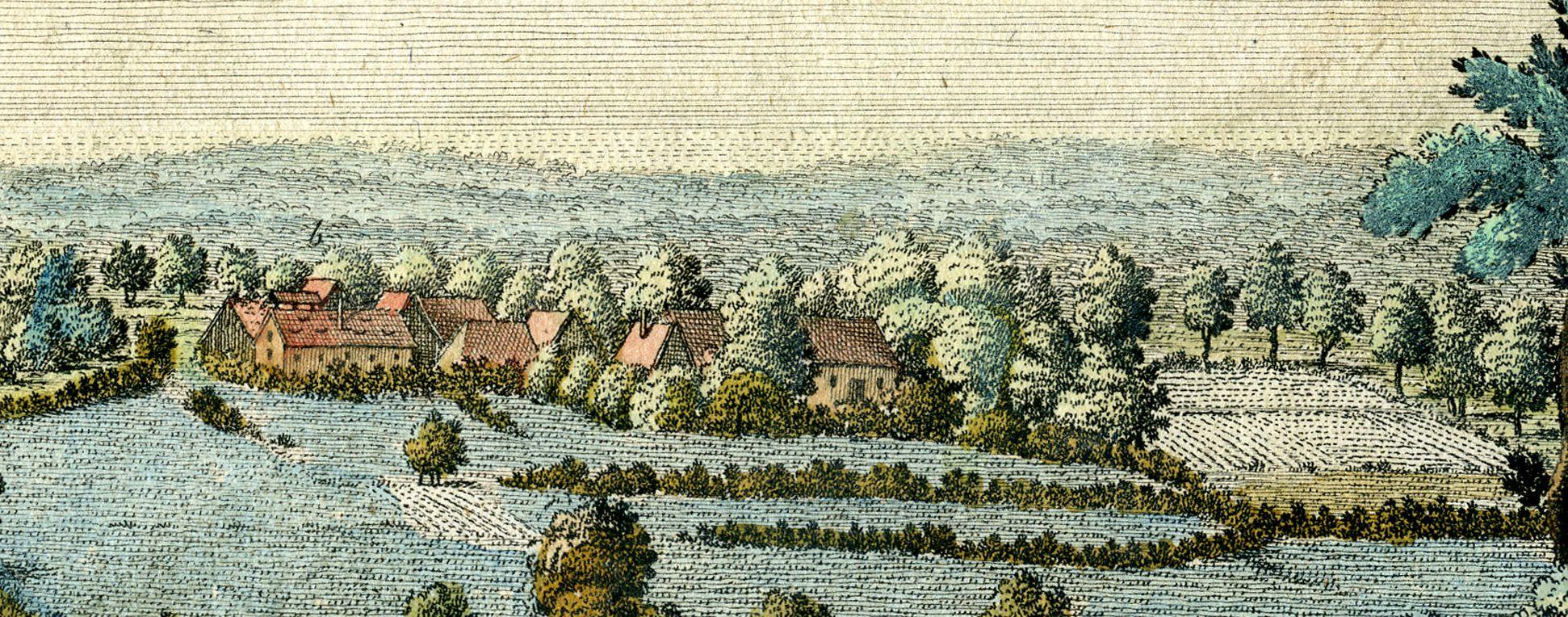 Prospect von Haymendorf b: Die Ziegelhütte nebst dem obern Theil des Dorfs