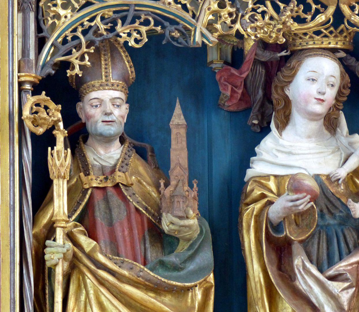 Puschendorfer Hochaltarretabel Hauptschrein, hl. Wolfgang und Maria, Detail