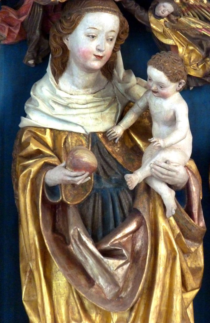 Puschendorfer Hochaltarretabel Hauptschrein, Maria mit dem Kinde, Detail