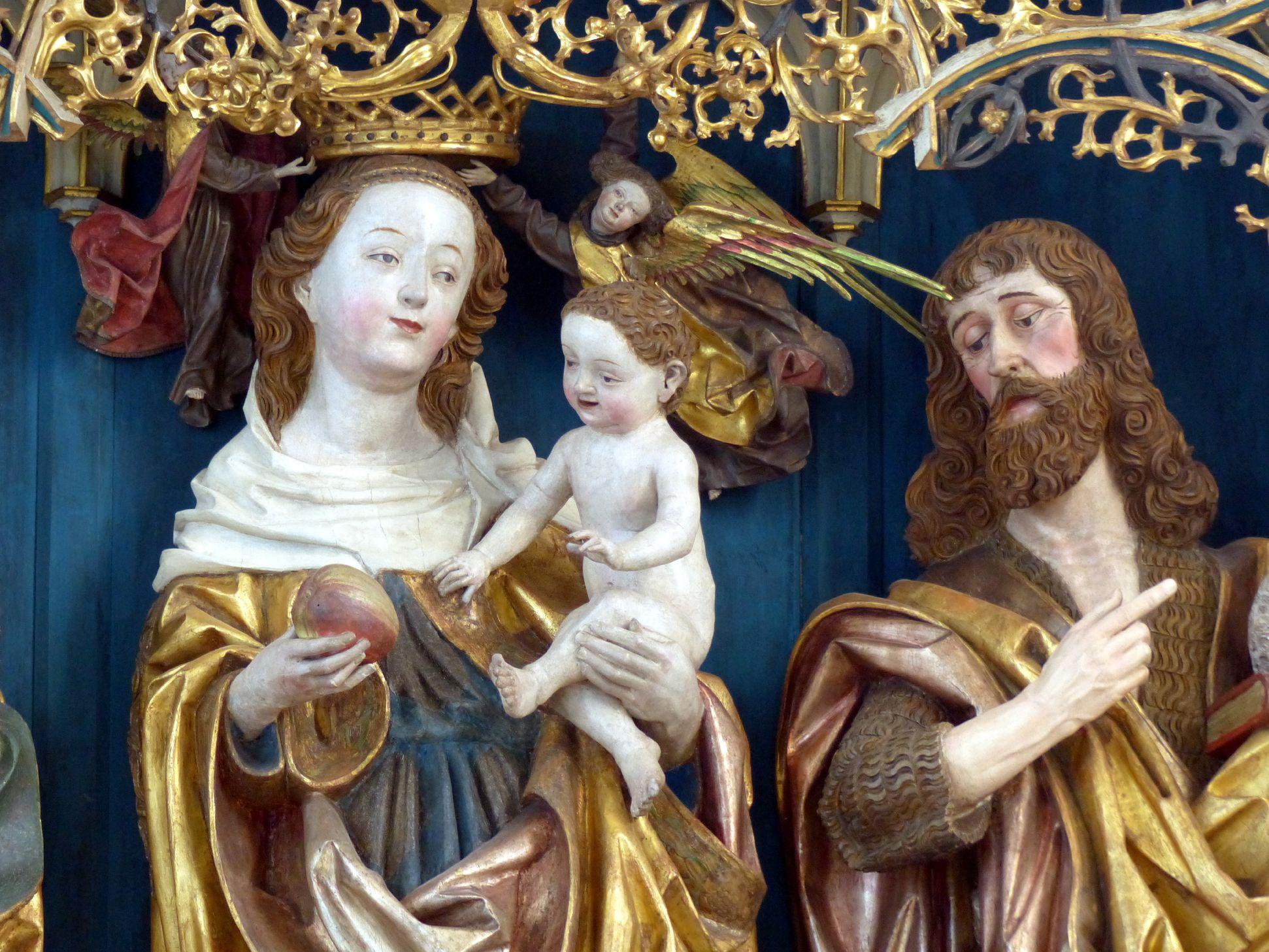 Puschendorfer Hochaltarretabel Hauptschrein, Maria mit dem Kinde und Johannes der Täufer, Detail