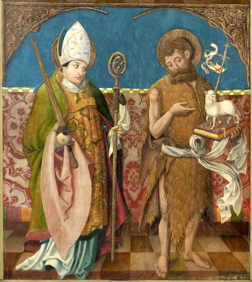 Puschendorfer Hochaltarretabel Altar geschlossen, l. Flügel unten: hl. Kilian und Johannes d.T.