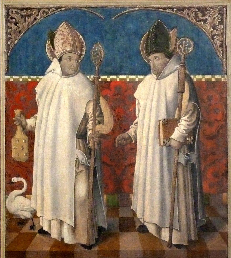 Puschendorfer Hochaltarretabel Altar geschlossen, r. Flügel oben: Hugo von Lincoln und Hugo von Grenoble in Kartäuserkutte