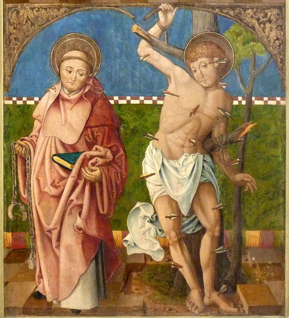 Puschendorfer Hochaltarretabel Altar geschlossen, r. Flügel unten: hl. Leonhard und hl. Sebastian