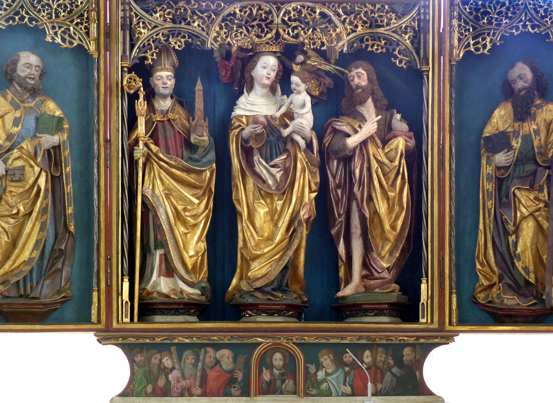 Puschendorfer Hochaltarretabel Hauptschrein mit vollplastichen Figuren; Seitenflügel mit Relieffiguren, Predella bemalt