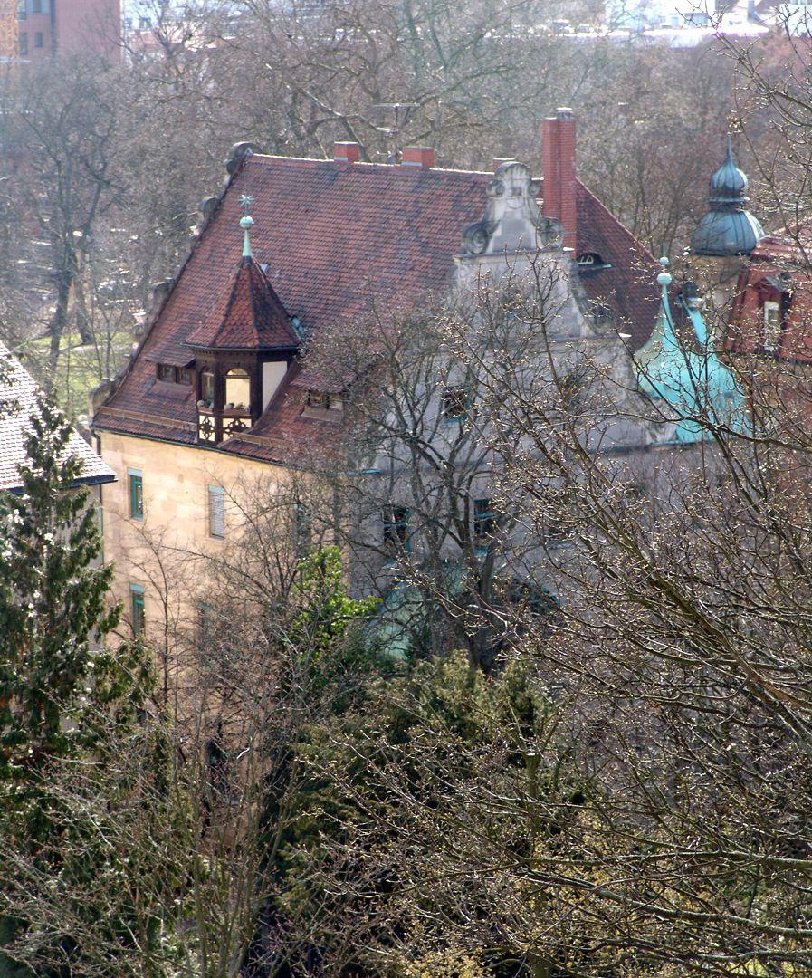 Wohnhaus, Hallerwiese Dachlandschaft von NO