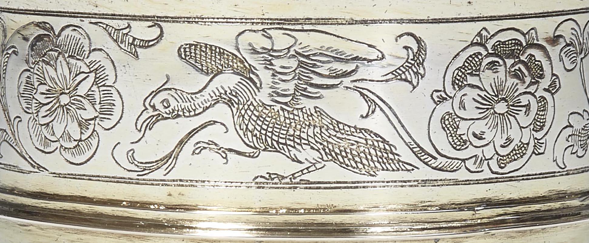 Nürnberger Fußbecher Detailansicht des oberen Becherrandes