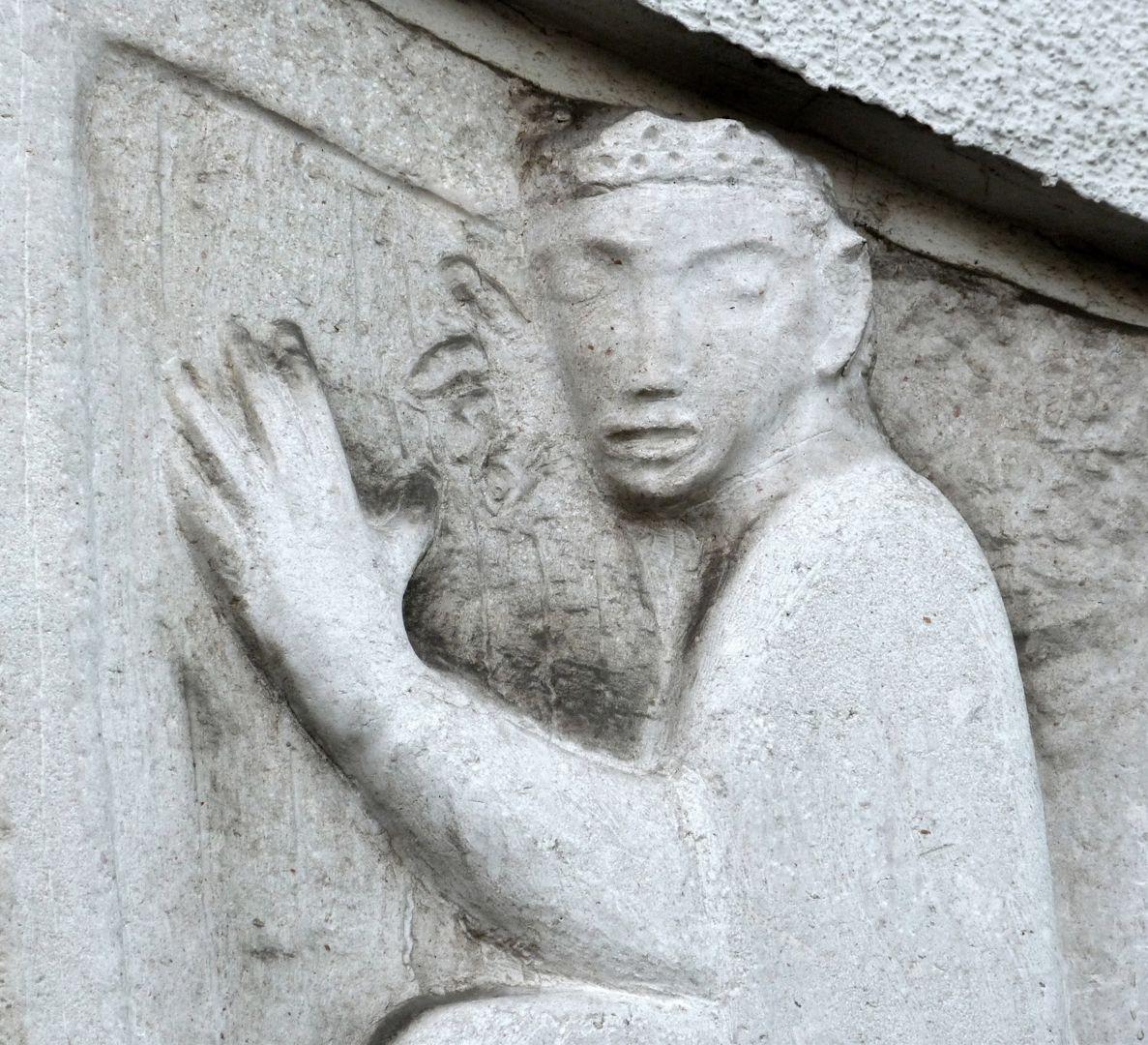 David mit der Harfe Detail mit zupfenden Händen