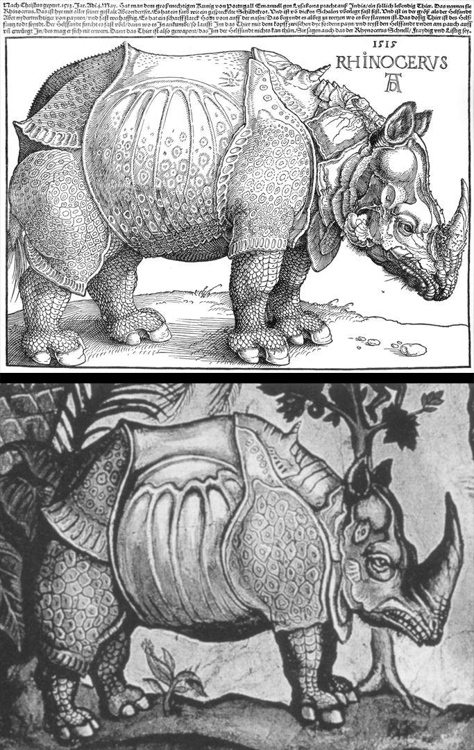 Rhinocerus Gegenüberstellung des Holzschnitts mit dem Deckengemälde des Hauses von Don Juan de Vargas Matajudíos in Tunja, Kolumbien, Ende des 16. Jh.