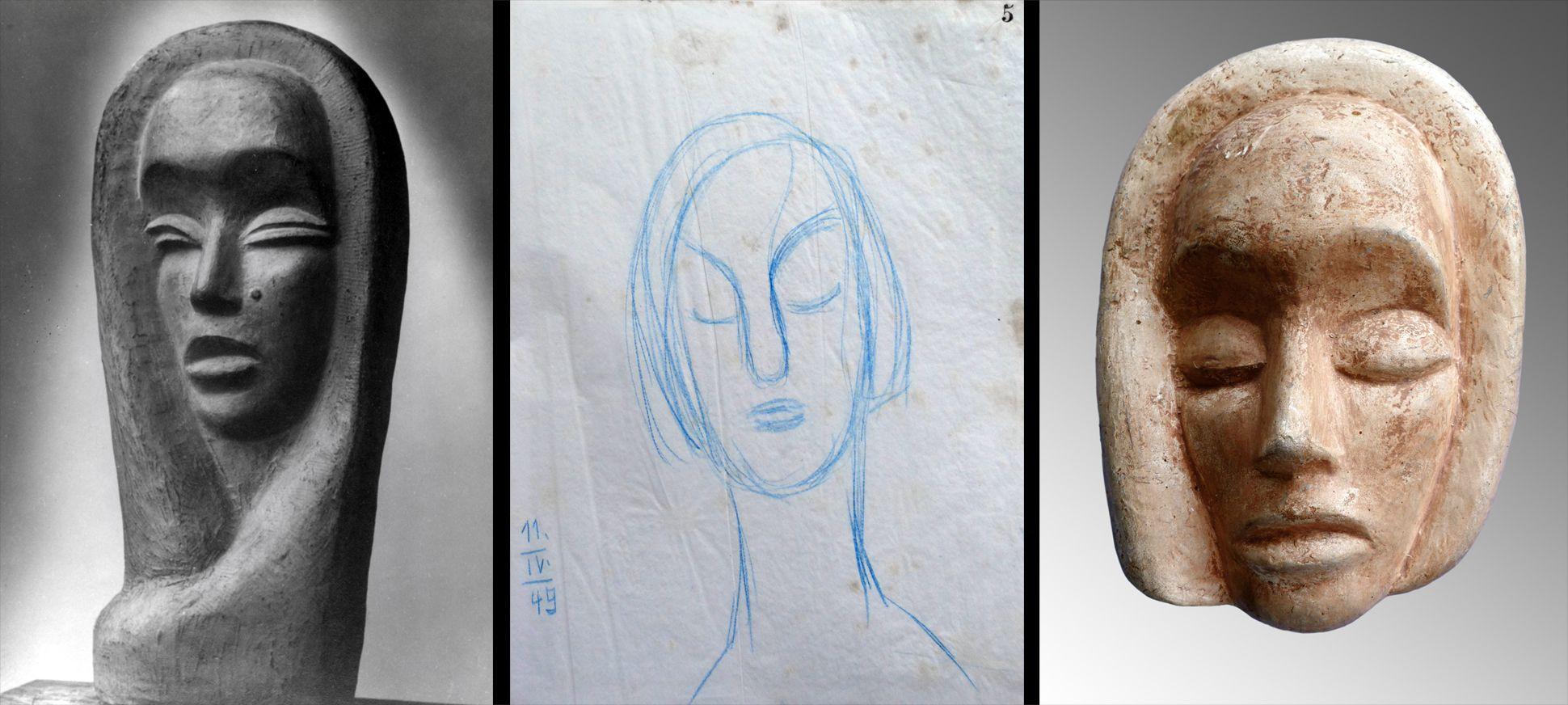 Maske Vergleich mit einem weiterem Werk (Verbleib unbekannt) des Künstlers und einer Skizze aus dem Entstehungsjahr