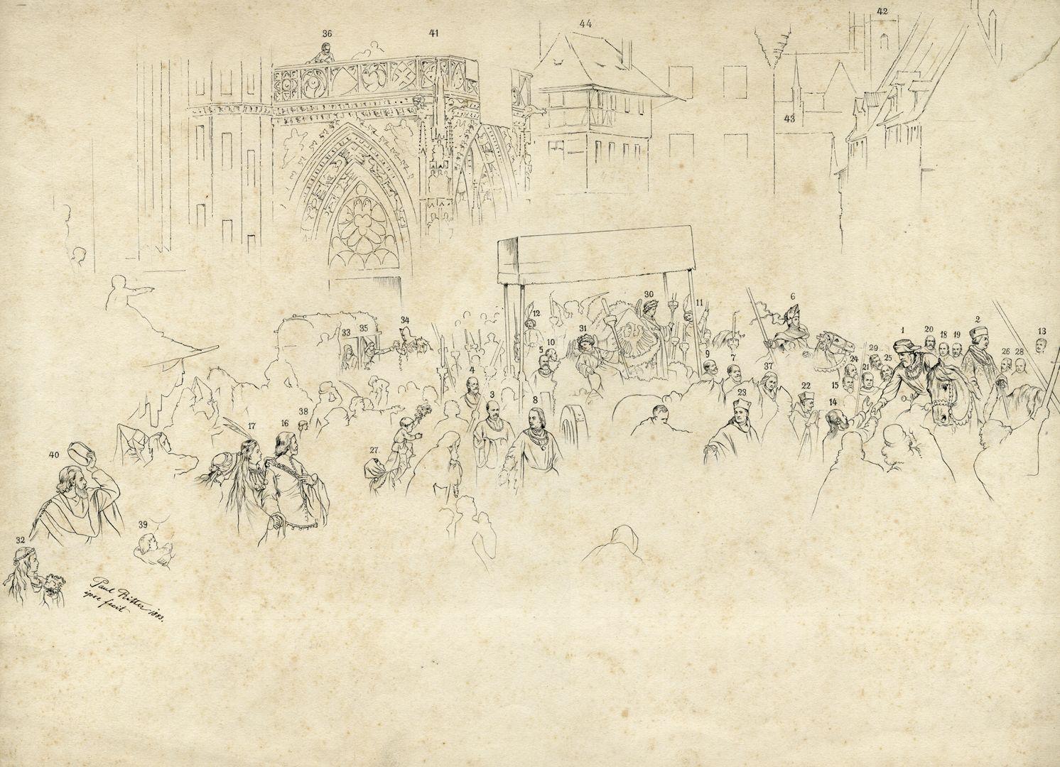 Die Einbringung der Reichskleinodien in Nürnberg am 22. März 1424 Für das Gemälde gibt es ein Erklärungsblatt, mit dem sich 40 Personen zuordnen lassen.