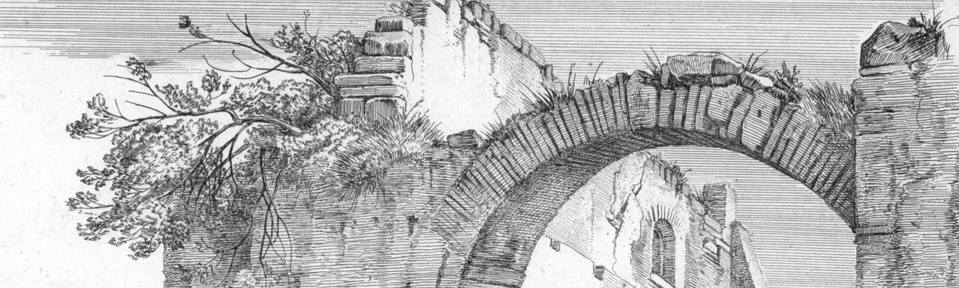 Rindvieh bei Ruinen Ruine, Detail