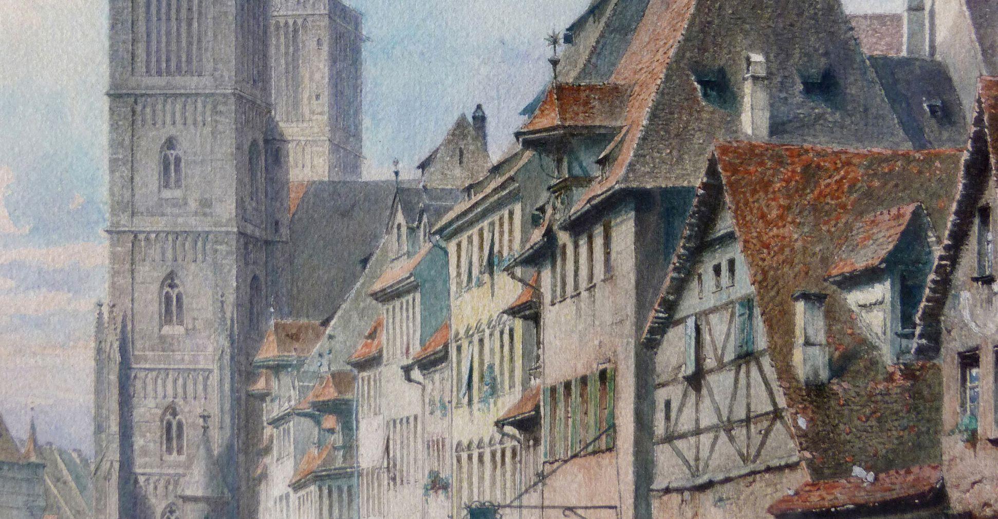 Königstraße mit Lorenzkirche Häuserzeile, obere Hälfte