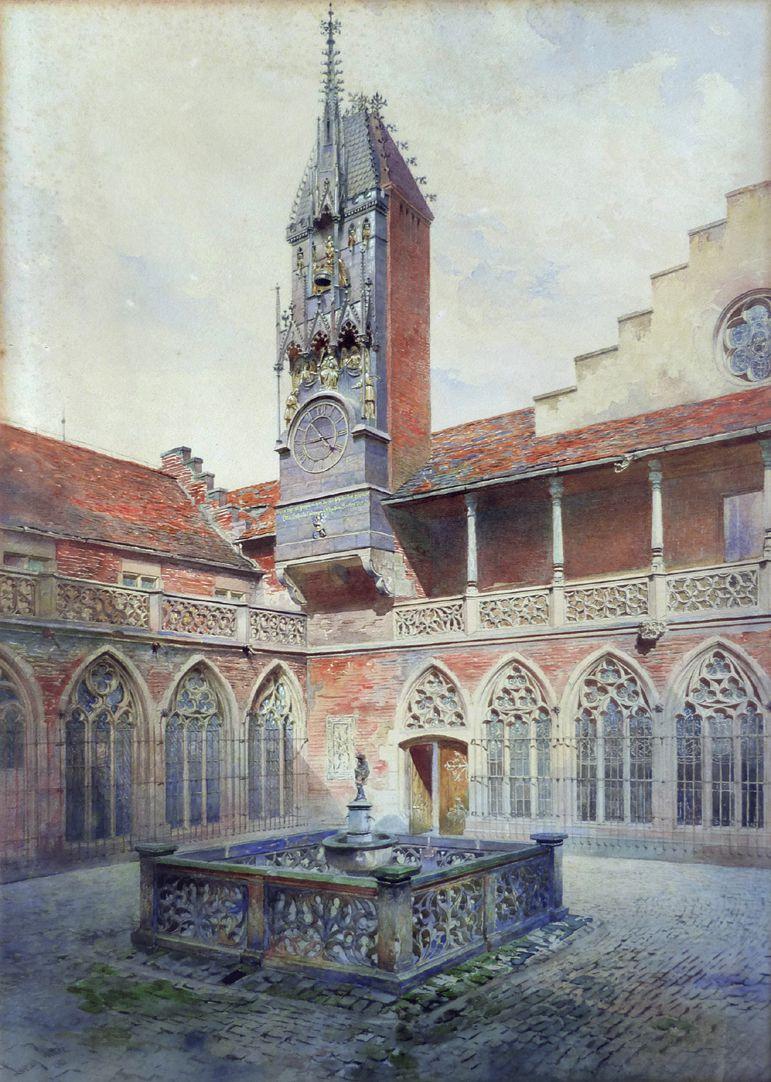 GNM, Augustinerbau, sog. Wittelsbacher Hof, mit Wittelsbacher Uhr Gesamtansicht