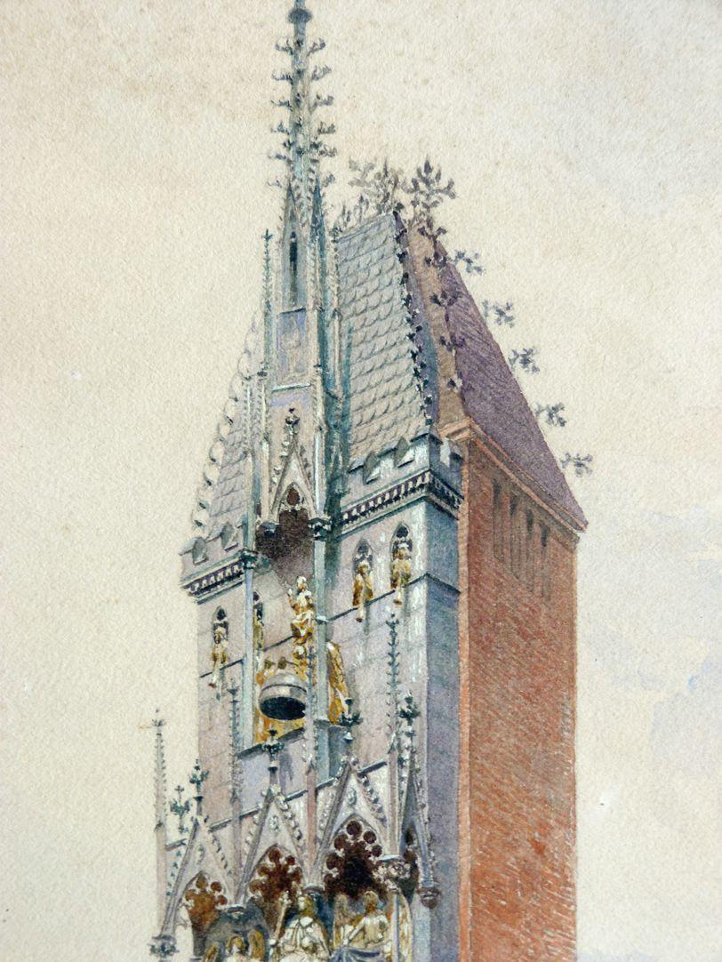 GNM, Augustinerbau, sog. Wittelsbacher Hof, mit Wittelsbacher Uhr Wittelsbacher Uhr, Detail