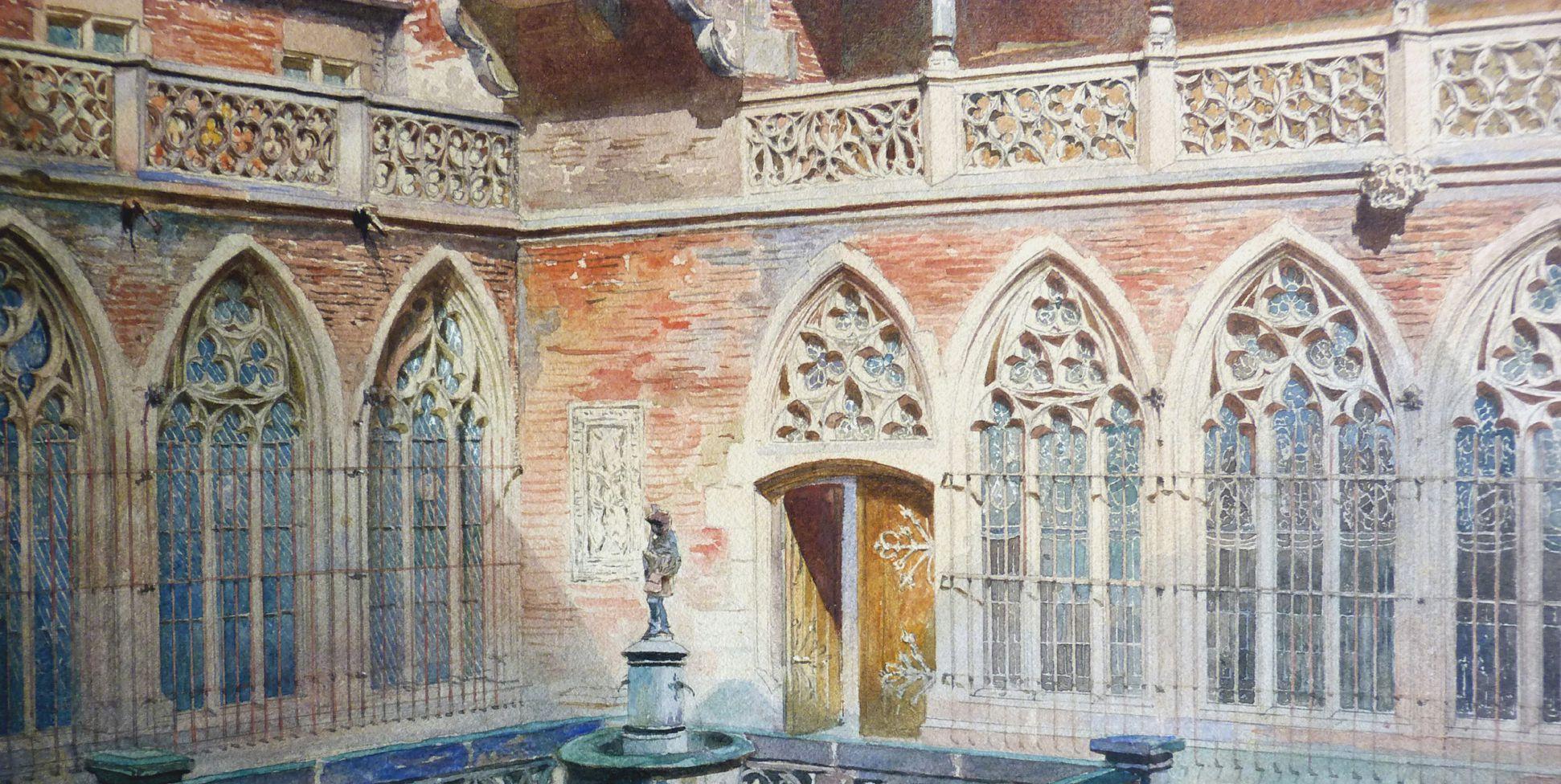 GNM, Augustinerbau, sog. Wittelsbacher Hof, mit Wittelsbacher Uhr Hof, Detailansicht