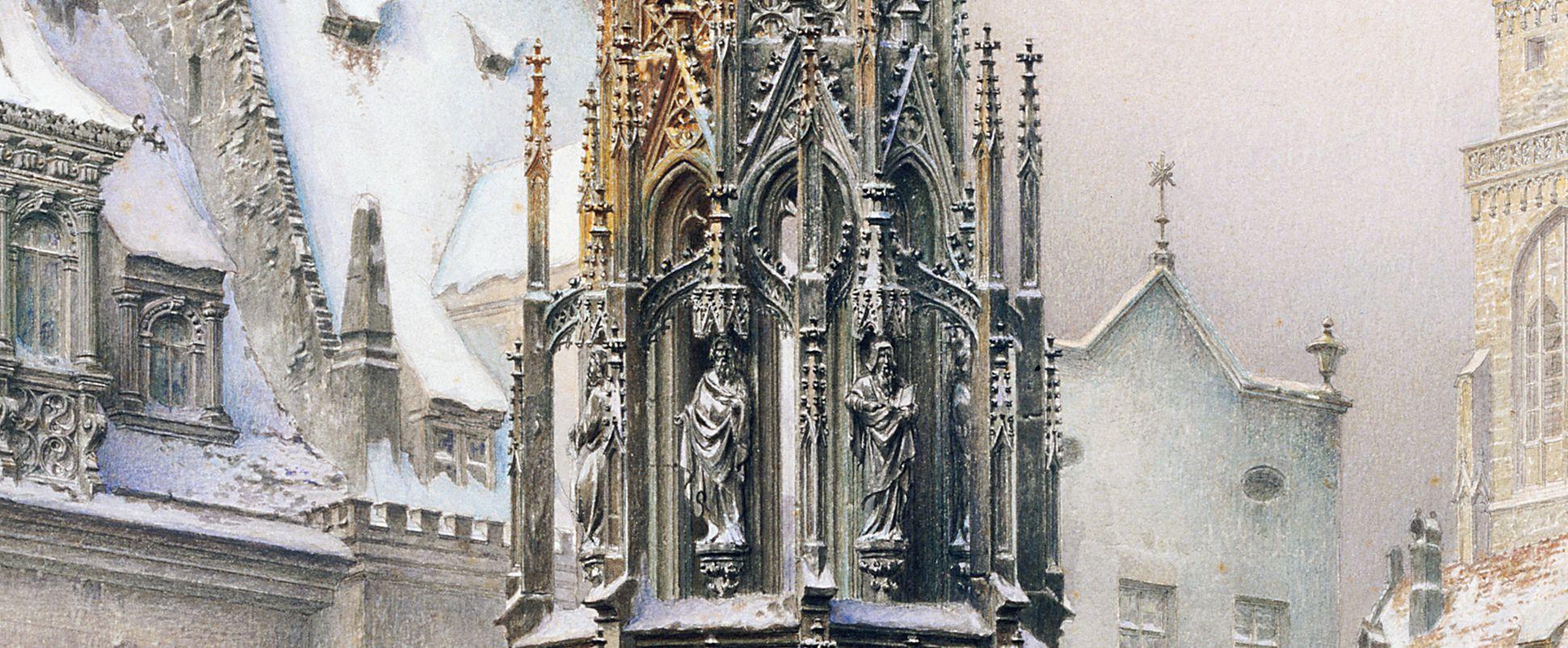 Christkindlesmarkt mit Schönen Brunnen Brunnen, Detail