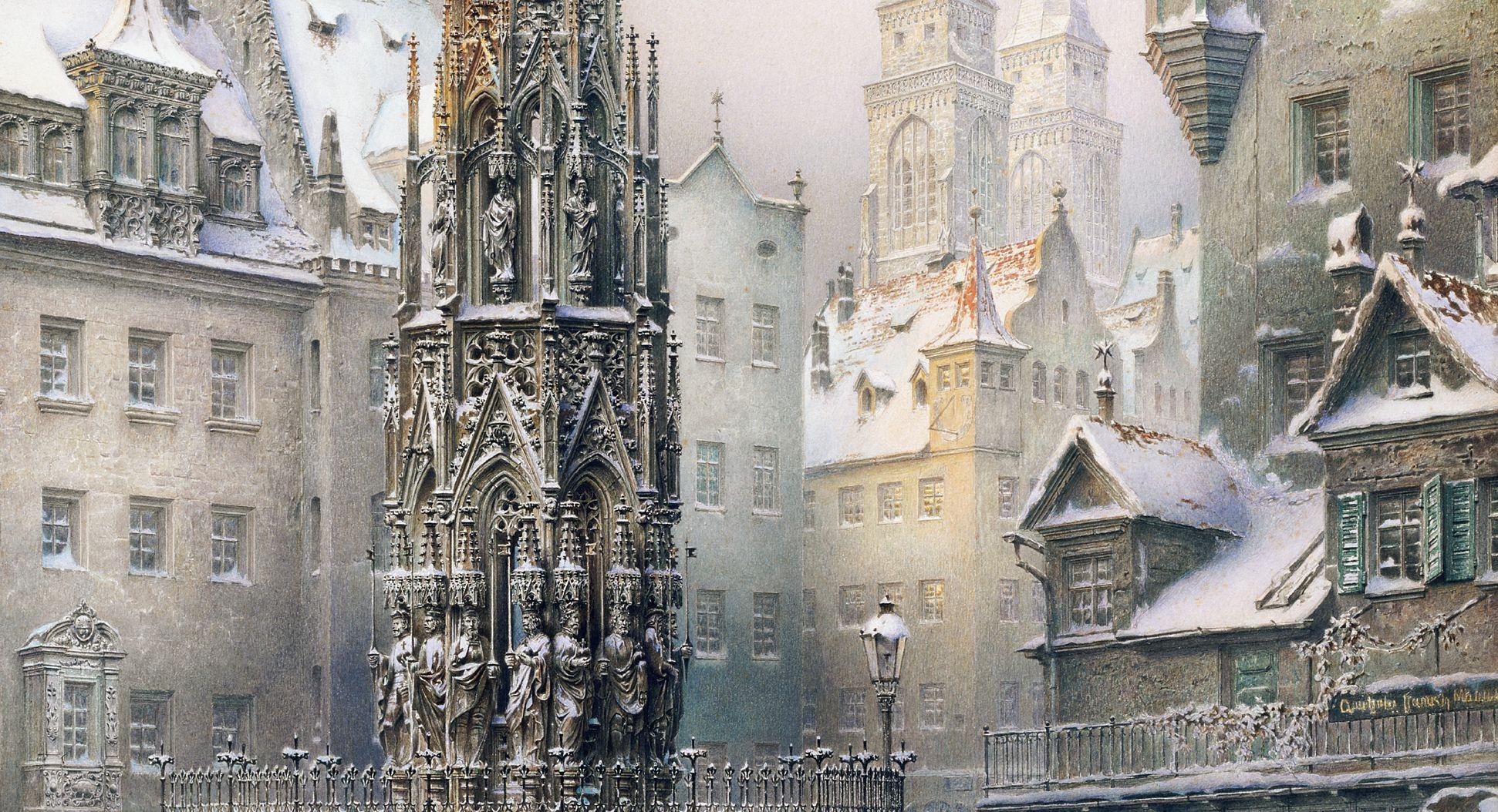 Christkindlesmarkt mit Schönen Brunnen Blick zur Sebalduskirche