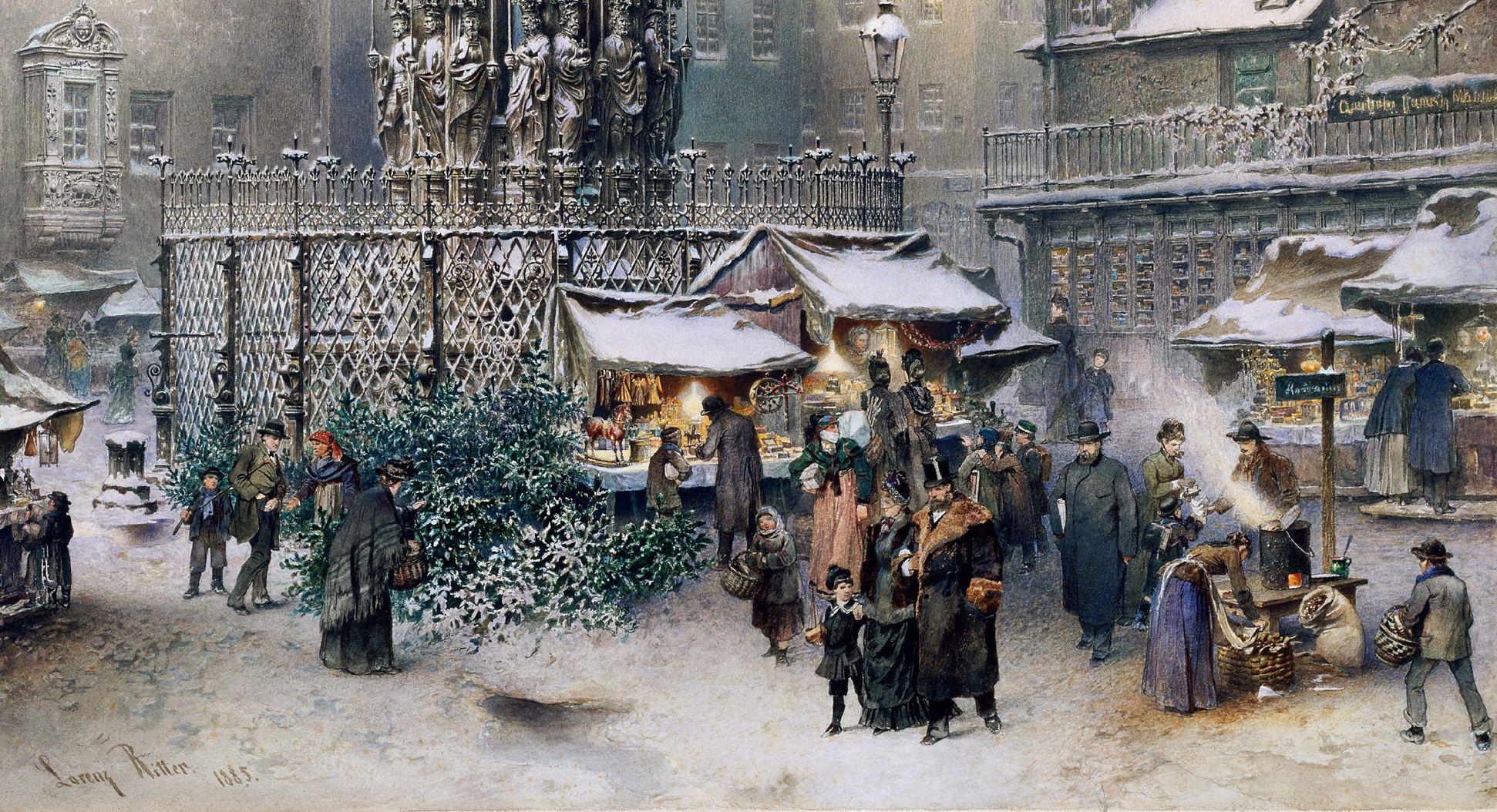 Christkindlesmarkt mit Schönen Brunnen unteres Bilddrittel