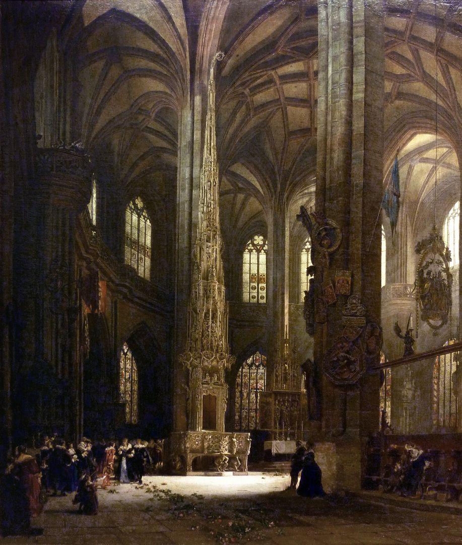 Sakramentshäuschen in der Nürnberger Lorenzkirche mit Brautzug aus dem frühen 17. Jahrhundert Gesamtansicht