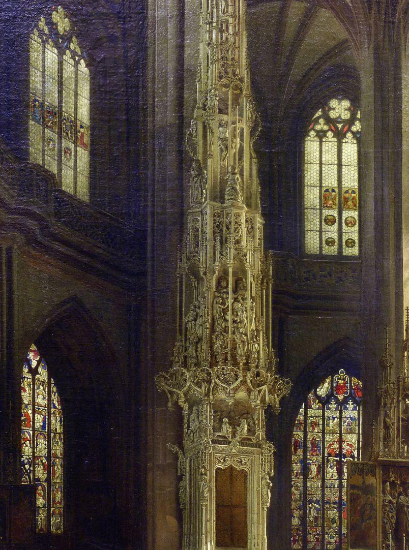Sakramentshäuschen in der Nürnberger Lorenzkirche mit Brautzug aus dem frühen 17. Jahrhundert Detailansicht