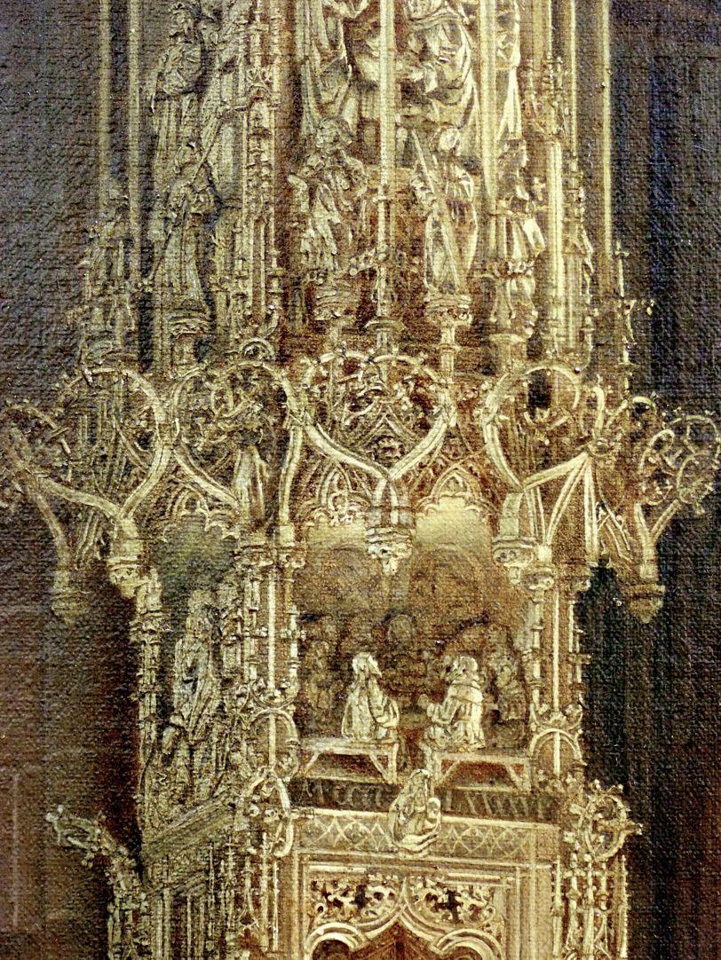 Sakramentshäuschen in der Nürnberger Lorenzkirche mit Brautzug aus dem frühen 17. Jahrhundert Skaramentshäuschen, Gesprenge