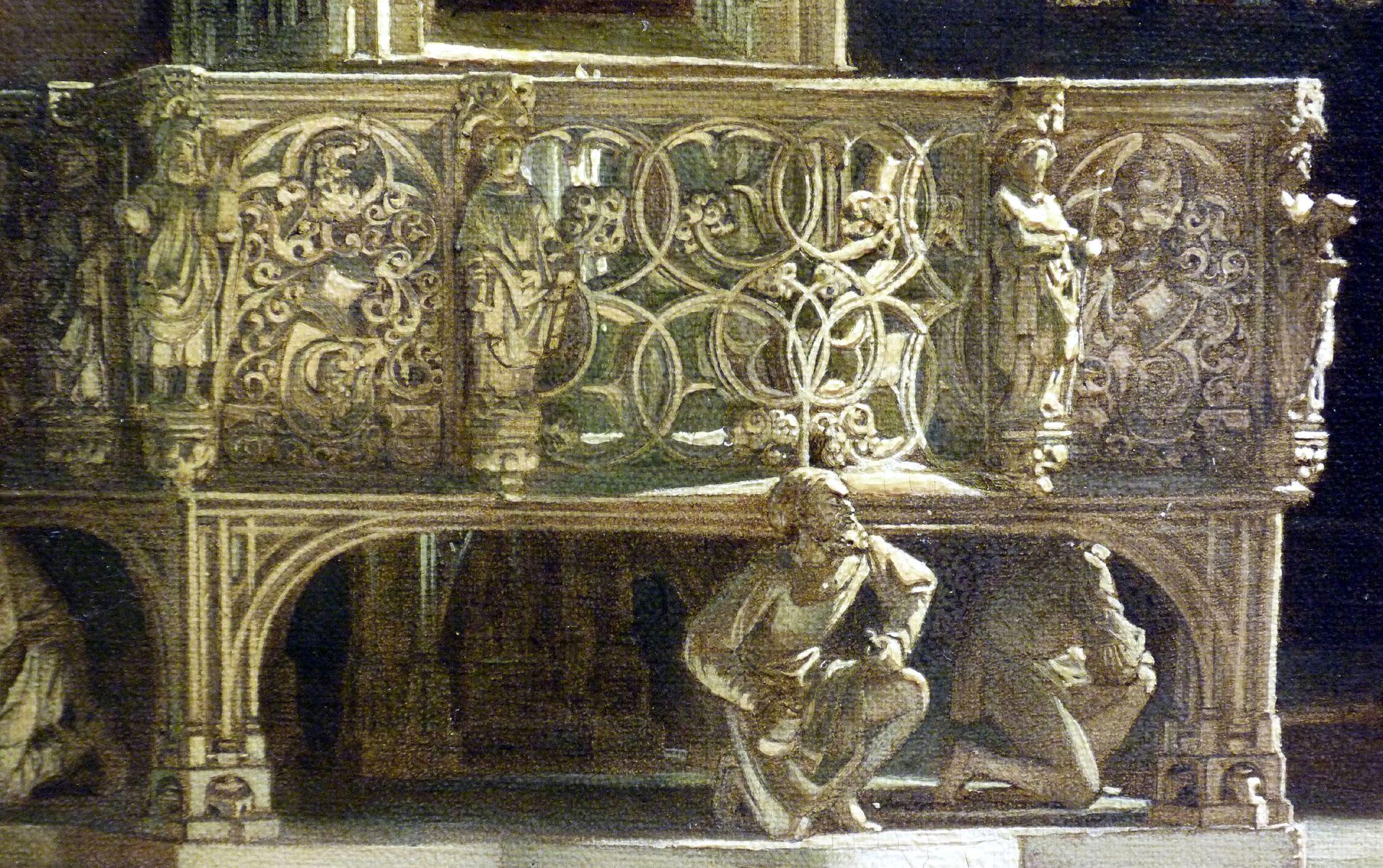 Sakramentshäuschen in der Nürnberger Lorenzkirche mit Brautzug aus dem frühen 17. Jahrhundert Sakramenthaus, Umgangsbühne