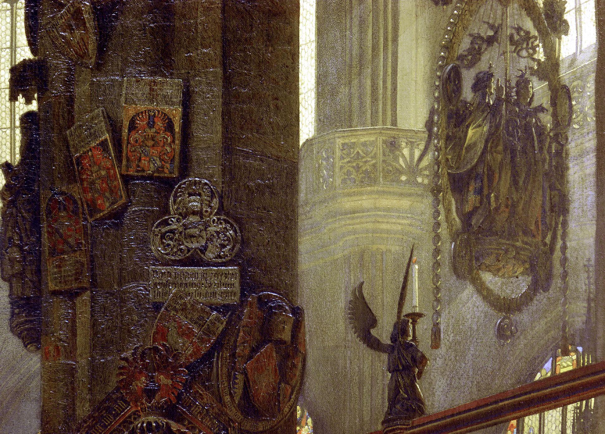 Sakramentshäuschen in der Nürnberger Lorenzkirche mit Brautzug aus dem frühen 17. Jahrhundert Detailansicht mit Totenschilden und Englischen Gruss