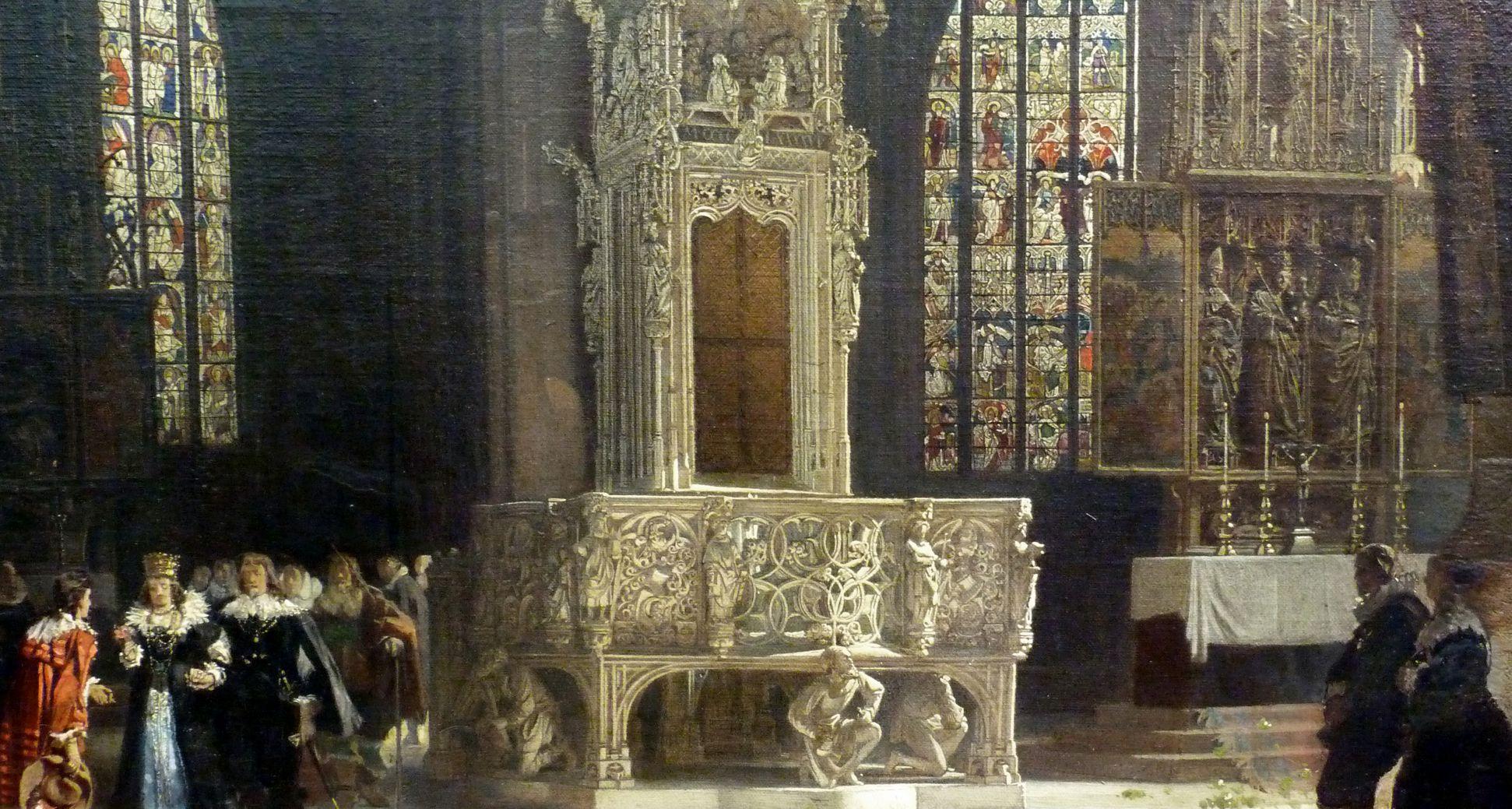 Sakramentshäuschen in der Nürnberger Lorenzkirche mit Brautzug aus dem frühen 17. Jahrhundert Detailansicht mit Brautzug