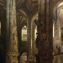 Sakramentshäuschen in der Nürnberger Lorenzkirche mit Brautzug aus dem frühen 17. Jahrhundert