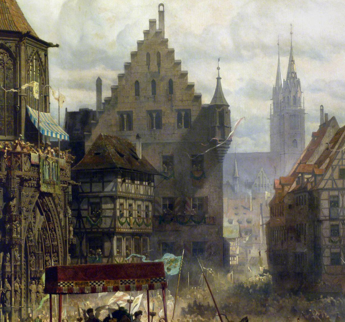 Die Einbringung der Reichskleinodien in Nürnberg am 22. März 1424 Prozession, Blick in die Plobenhofstraße