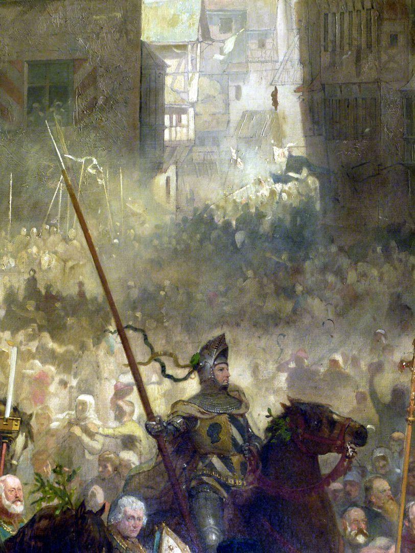 Die Einbringung der Reichskleinodien in Nürnberg am 22. März 1424 Ritter, Blick über die Menschenmenge in die Plobenhofstraße