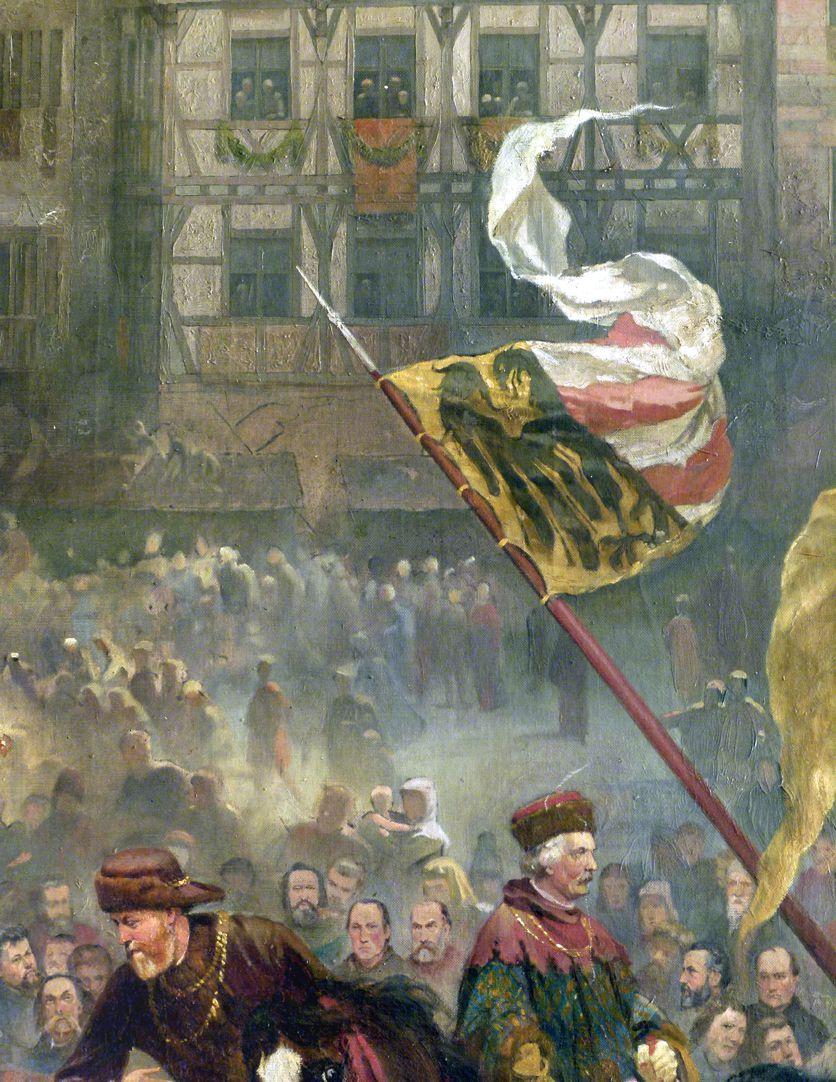 Die Einbringung der Reichskleinodien in Nürnberg am 22. März 1424 Prozession, Fahne mit Nürnberger Wappen