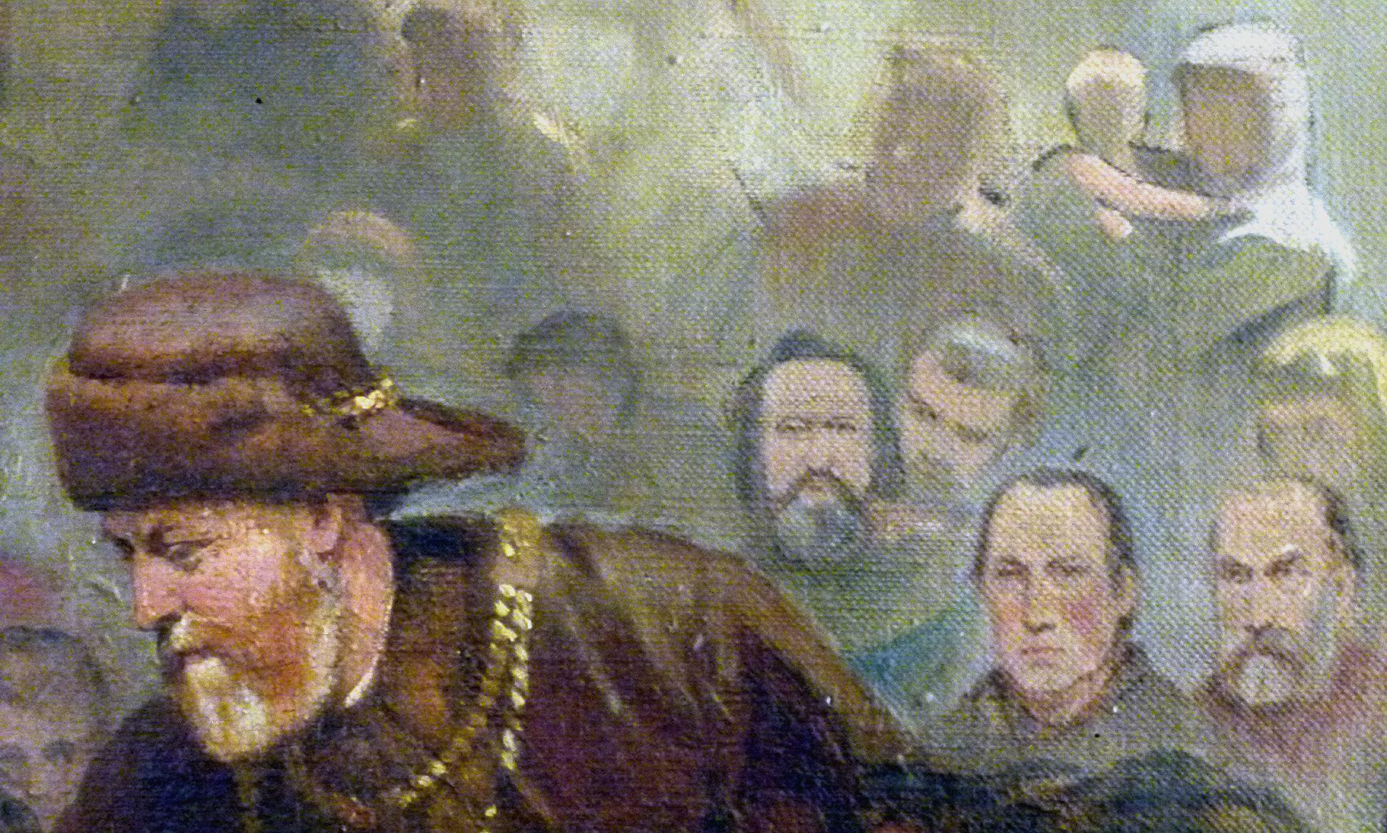 Die Einbringung der Reichskleinodien in Nürnberg am 22. März 1424 Köpfe